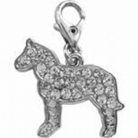 HORSE CLEAR CRYSTAL CHARM FOR BAGS PHONES JEWELLERY ETC